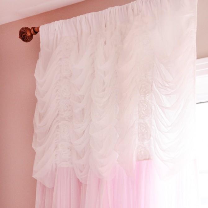 Pink Ruching Ruffle Curtain Panel
