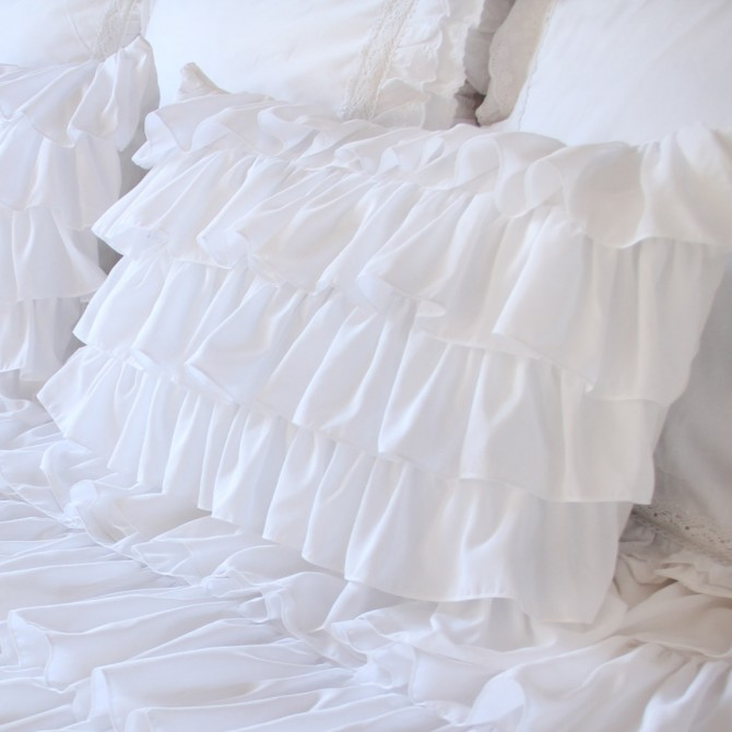 White Waterfall Ruffle Sham-Set of 2