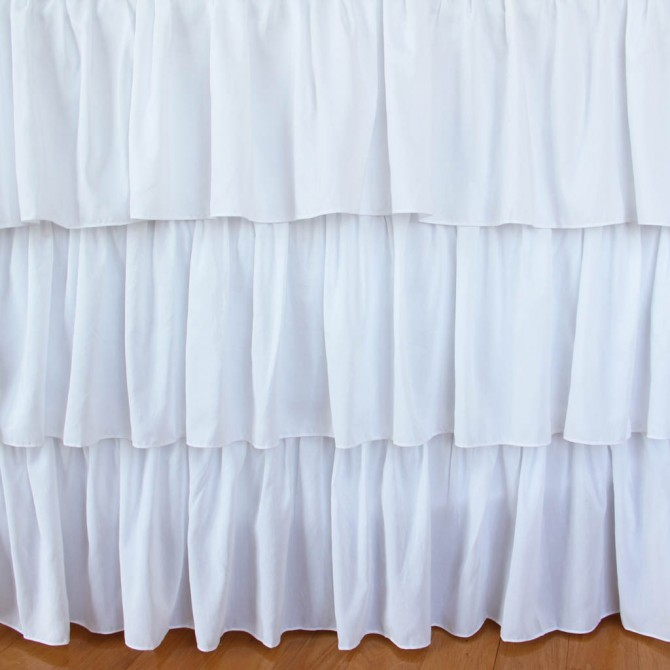 White Tiered Ruffle Bed Skirt