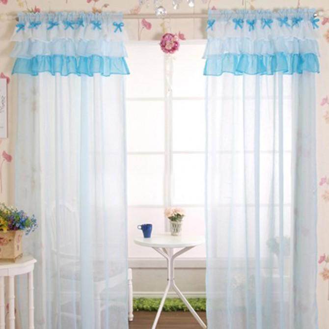 Ruffle Sheer Bow Curtain Set, Light Blue