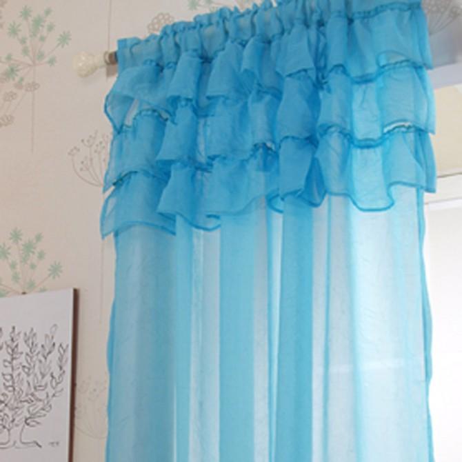 Ruffle Sheer Curtain Set, Blue