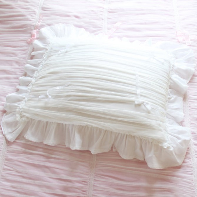 White Ruched Ruffle Sheer Pillow Sham