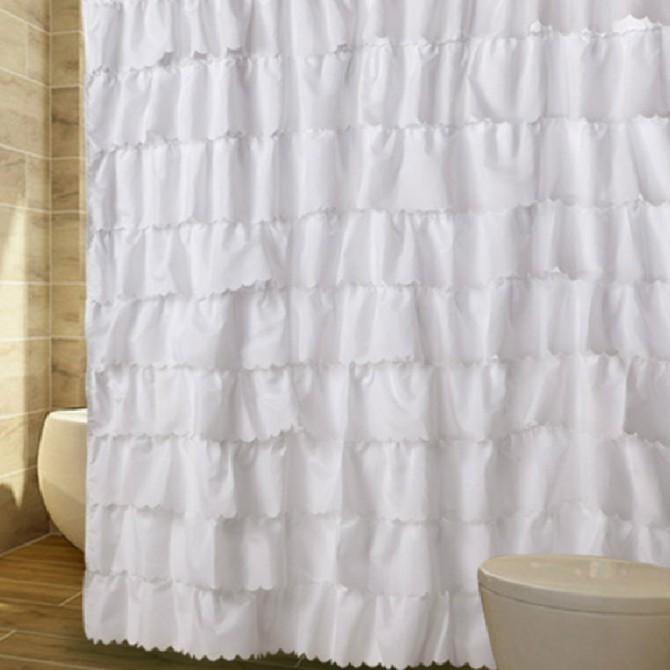 White Ruffled Waterfall Shower Curtain