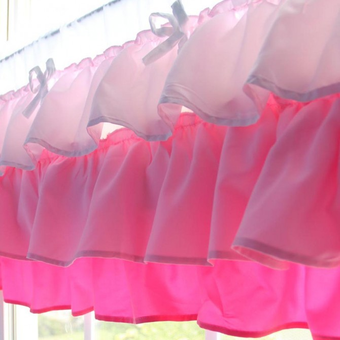 Pink Ombre Ruffled Valance