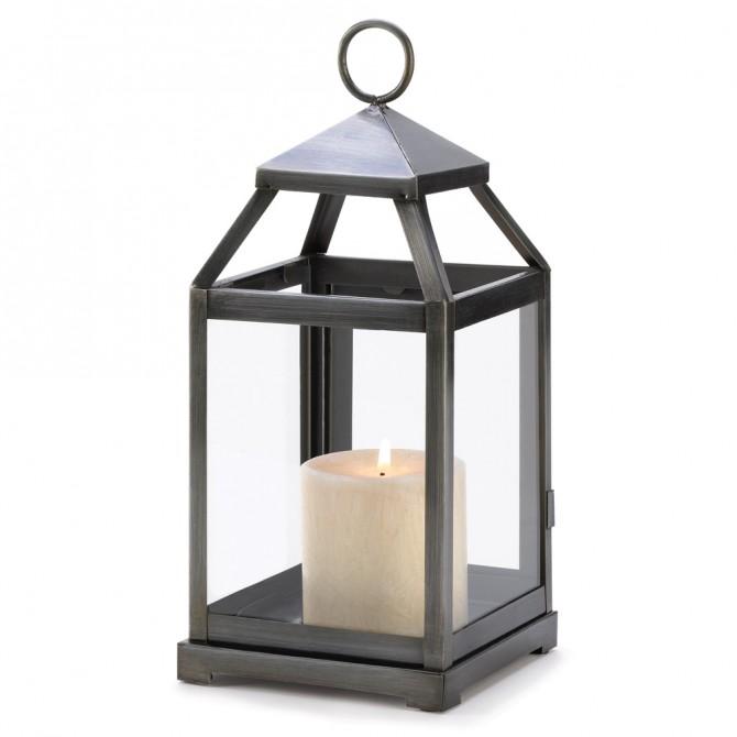 Rustic Silver Contemporary Candle Lantern