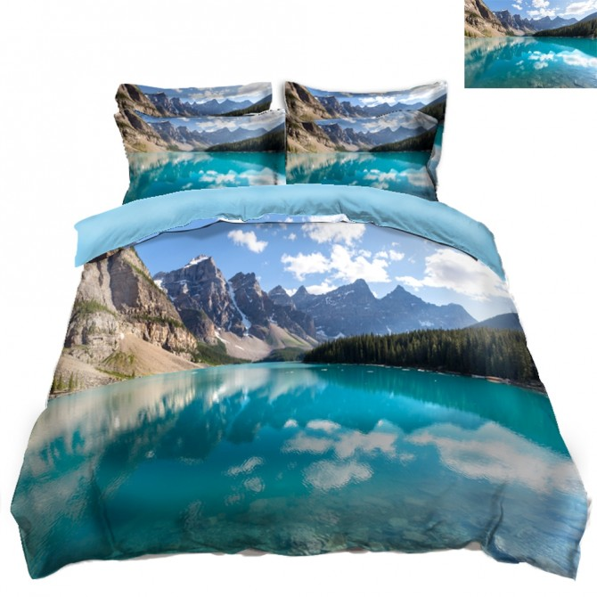 Mountain Lake Scenery Duvet Covet Set