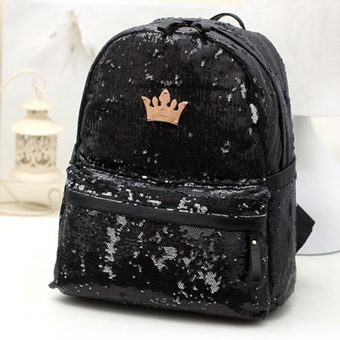 Black Sequin Backpack