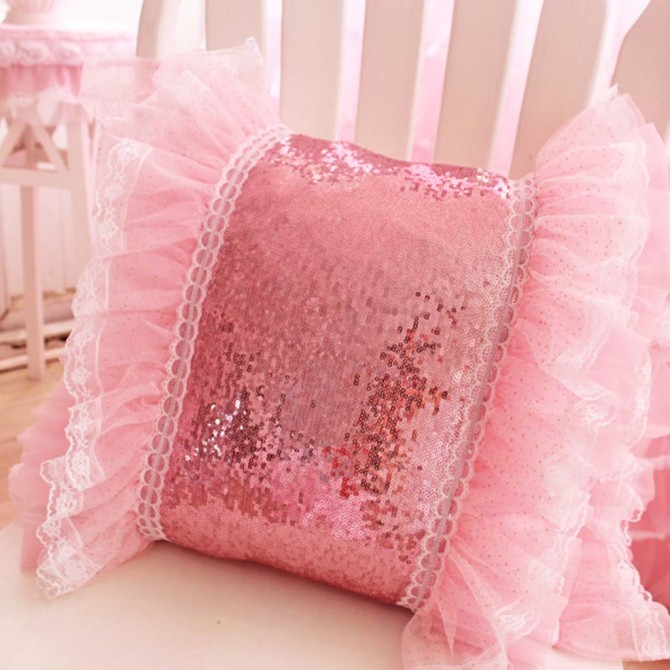 Bling Pink Ruffle Sequin Cushion Cover
