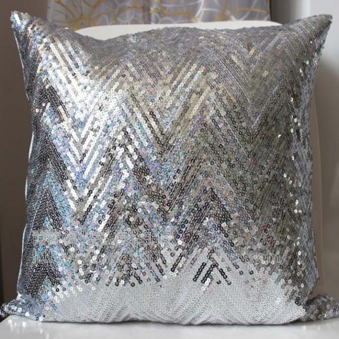 Silver Metallic Sequin Cushion Cover