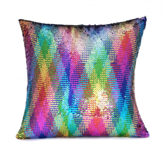 Rainbow Sparkle Glitter Sequin Cushion Cover