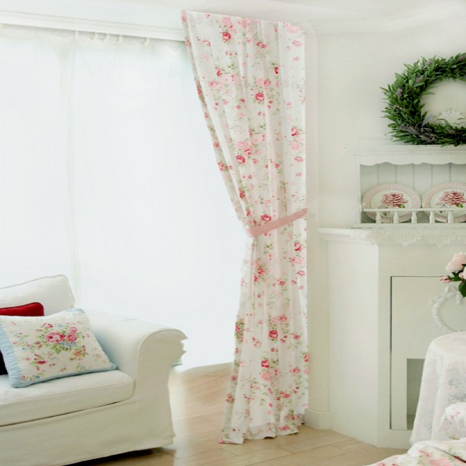 White Romance Curtain Panel