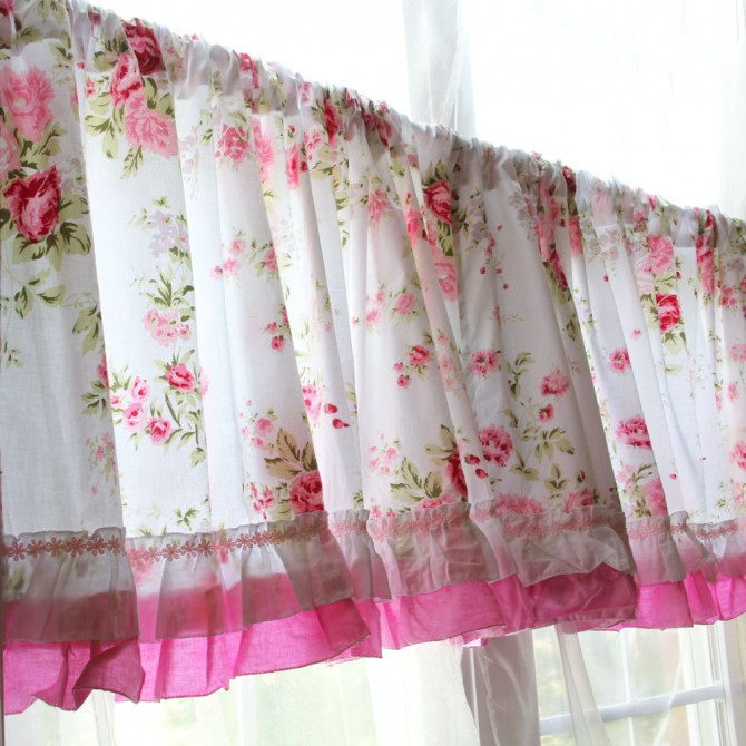 Shabby Chic Wildflower Coffee Curtain