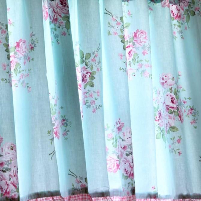 Shabby Bella Blue Rose Coffee Curtain