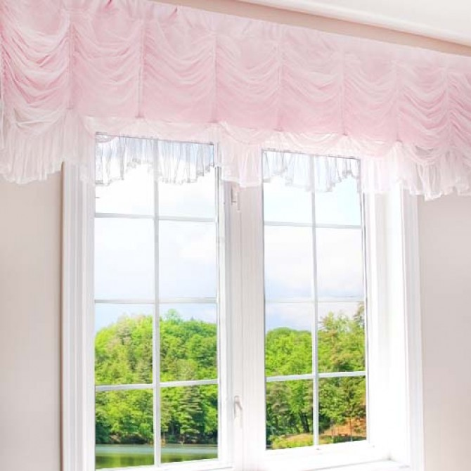 Luxury Ruched Valance, Pink