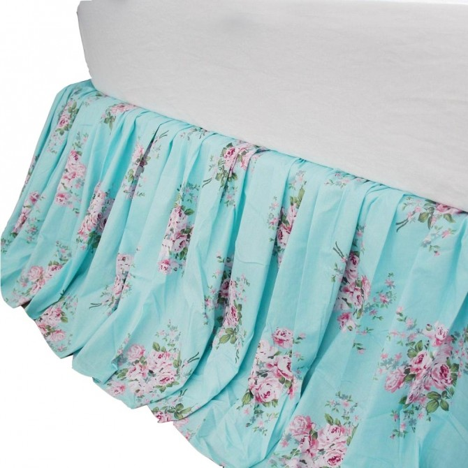 Rose Bed Skirt-Aqua Blue