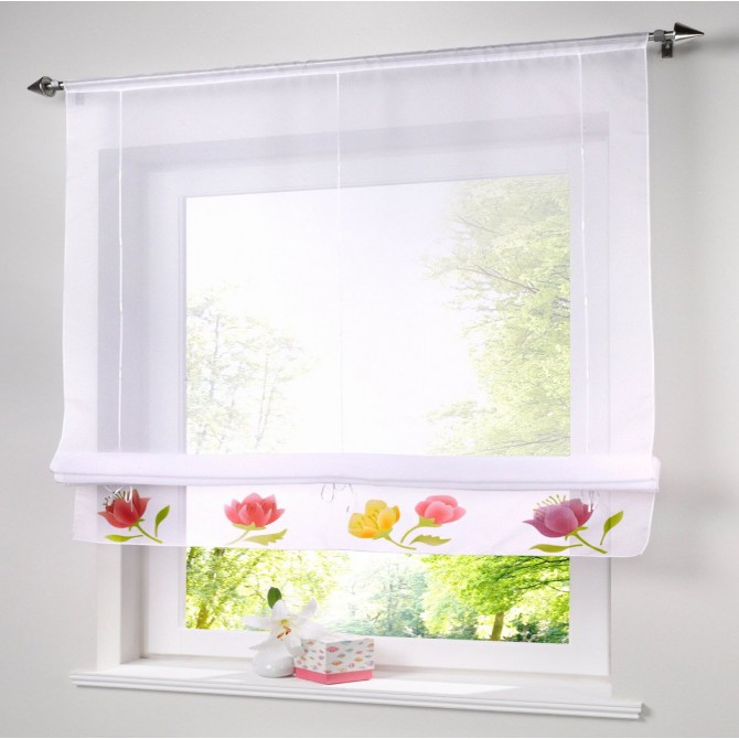 Country Floral Tie Up Curtain