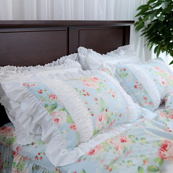 Romantic Rose Ruched Pillow Sham