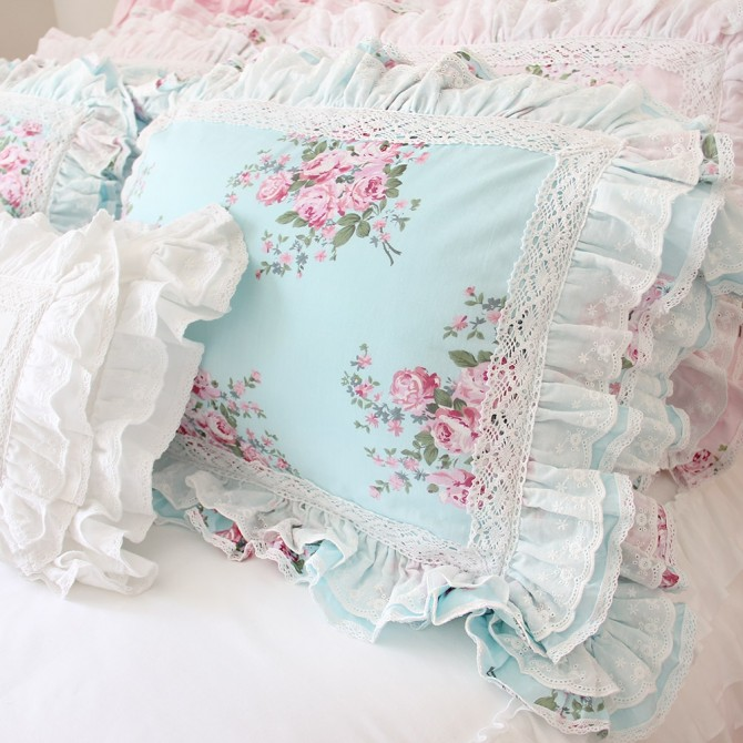 Lace Love Ruffle Cushion Cover, Aqua Blue