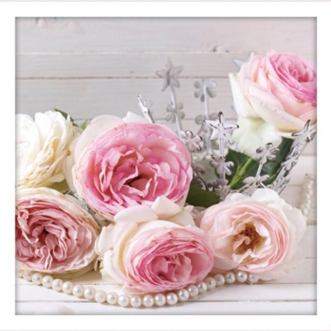 Shabby Vintage Roses Pearls Print