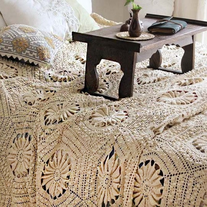 Country Rustic Vintage Crochet Bedspread Coverlet