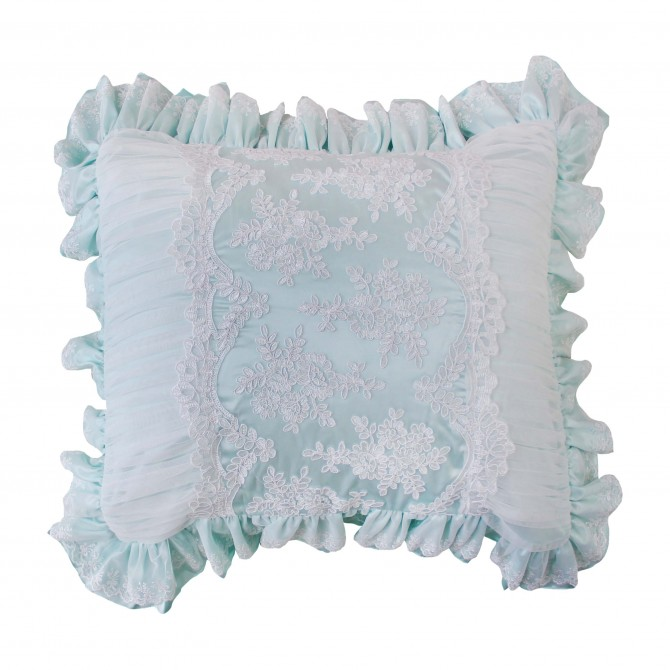 Romantic Green French Lace Pillow Sham