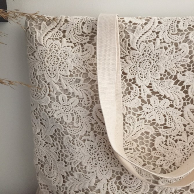 Handmade Cream White Embroidery Garden Lace Tote Bag
