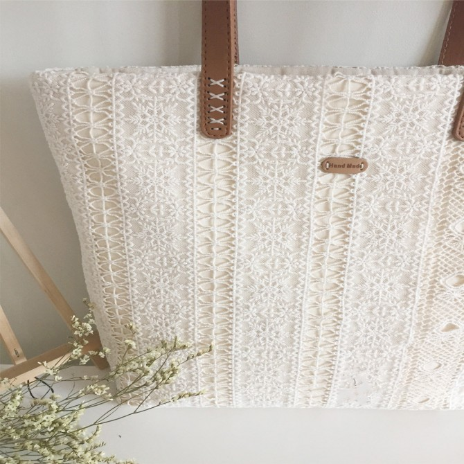 Handmade Cream White Embroidery Vertical Lace Tote Bag