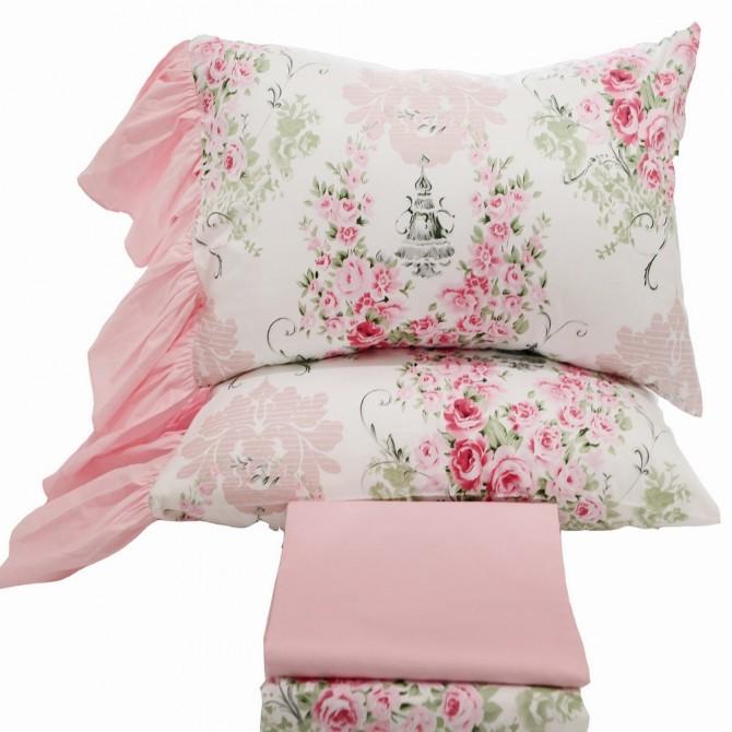 Mermaid Long Ruffle Pillowcase-Victorian Pink Roses