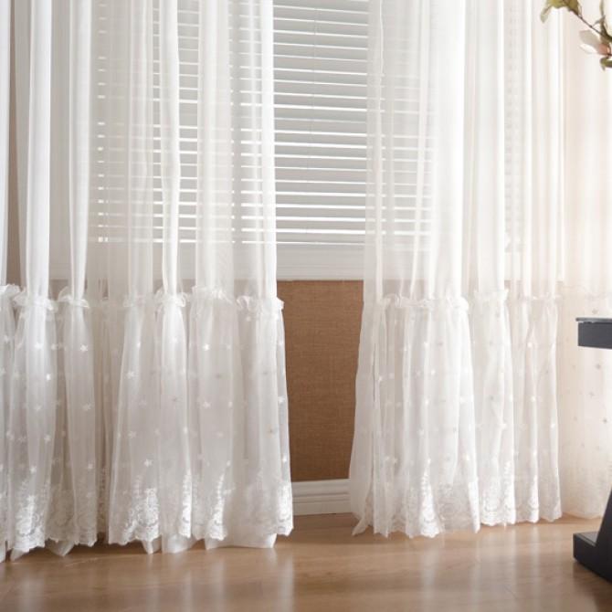Paris White Lace Sheer Curtain Panel