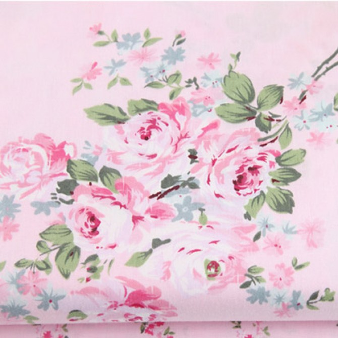 Shabby Chic Pink Rose Fabric