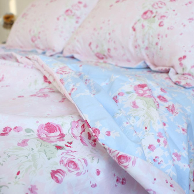 Pink Blue Rose Reversible Egyptian Cotton Duvet Cover Set
