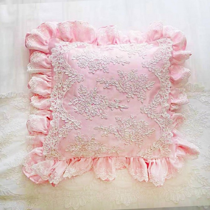 Pink Waterfall Ruffle Ruch Cushion Cover
