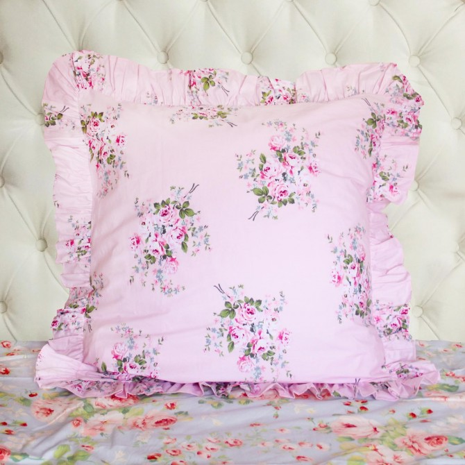 Pink Rose Pillow Sham ( pair)
