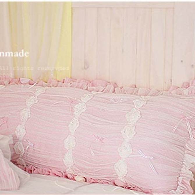 Luxury Pink Ruffle Ruch Body Pillow Cover