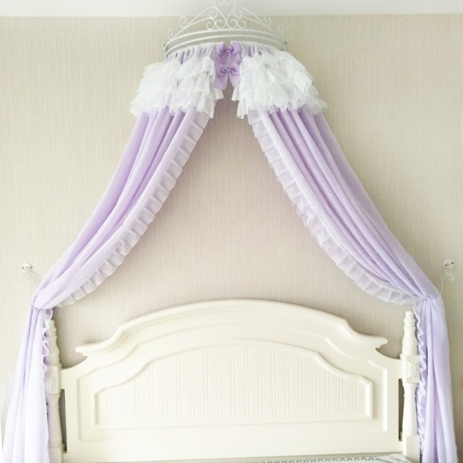 Double Sheer Bed Canopy Ruffle Curtains