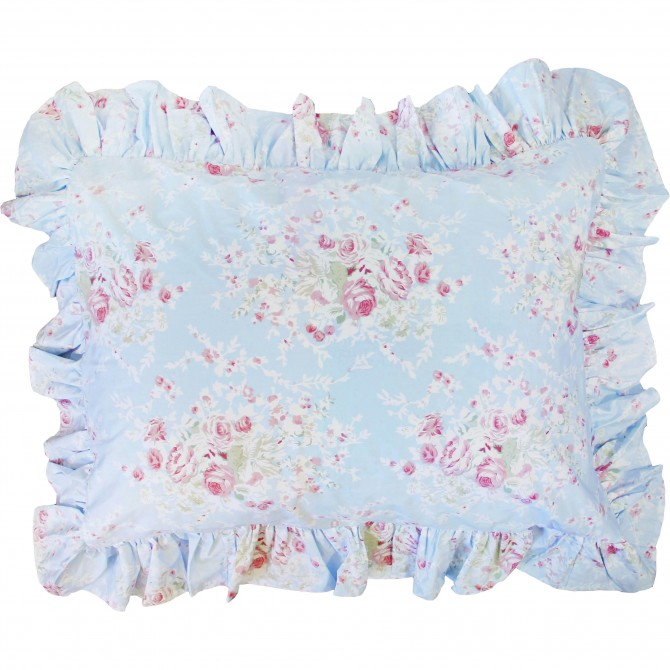 Blue Egyptian Cotton Ruffle Pillow Sham