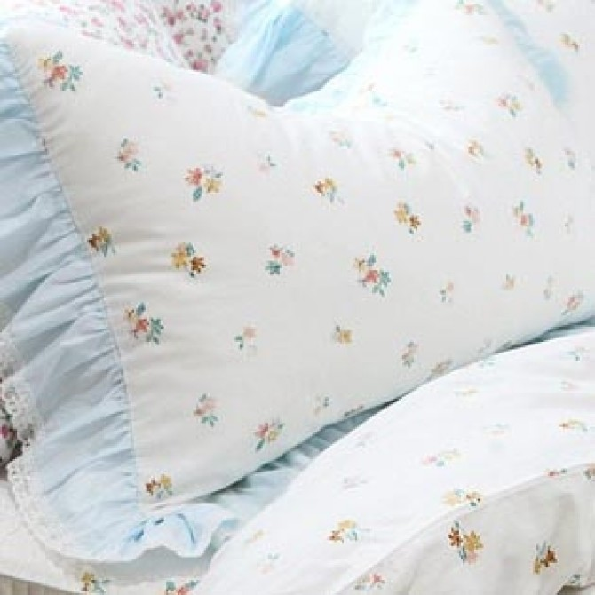 Mini Floral Blue Ruffle Duvet Cover Set