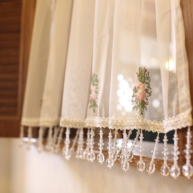 Luxury Embroidery Rose Valance with Beaded Fringe Trim