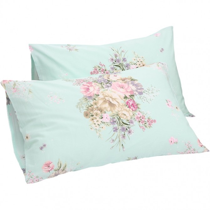 Green Shabby Rose Pillow Sham ( pair)
