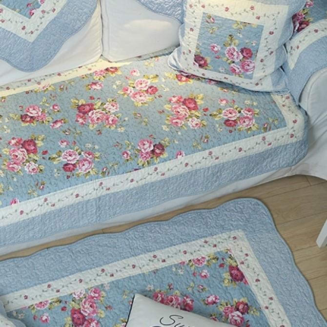 Vintage Rose Blue Rug Mat
