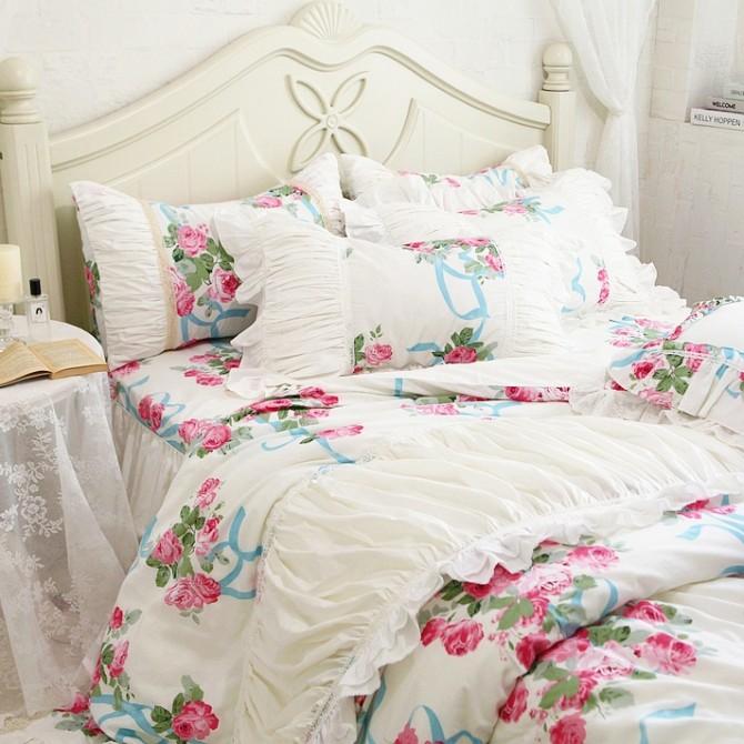Rose Ruched Duvet Cover Set