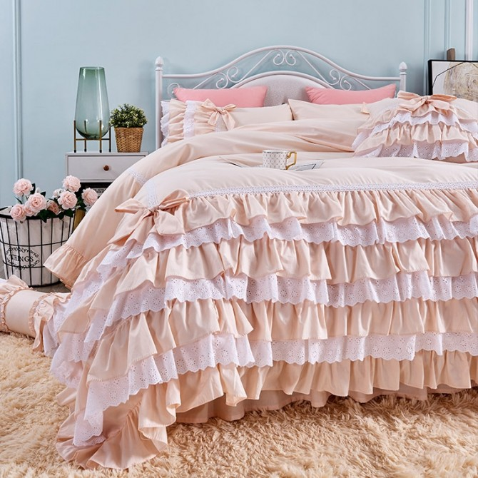Romantic Ruffle Lace Duvet Cover Set