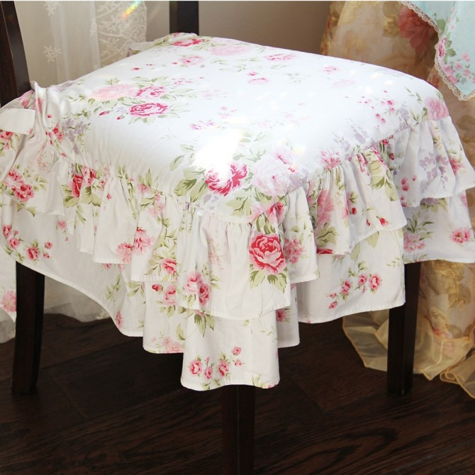 White Romance Roses Chair Cover