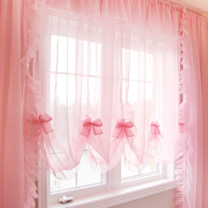Princess Pink Sheer Curtain Set