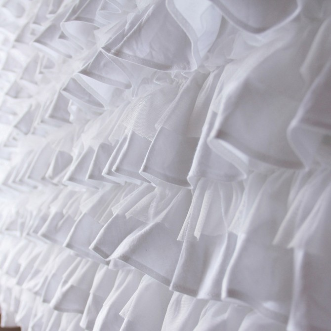 Multi Ruffle White Bed Skirt Bedspread
