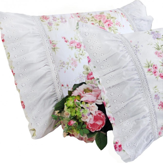 White Lace Pillow Sham-Rose