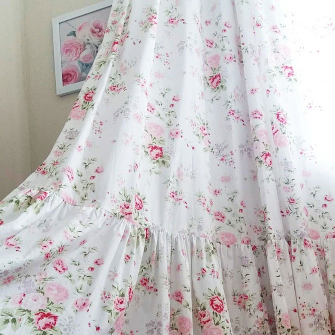 Long Mermaid Ruffle Rose Curtain Panel-White Romance