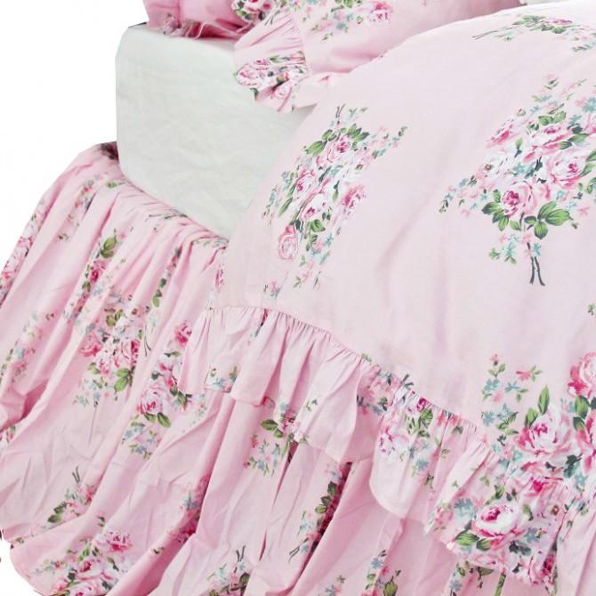 Shabby Pink Roses Bed Skirt