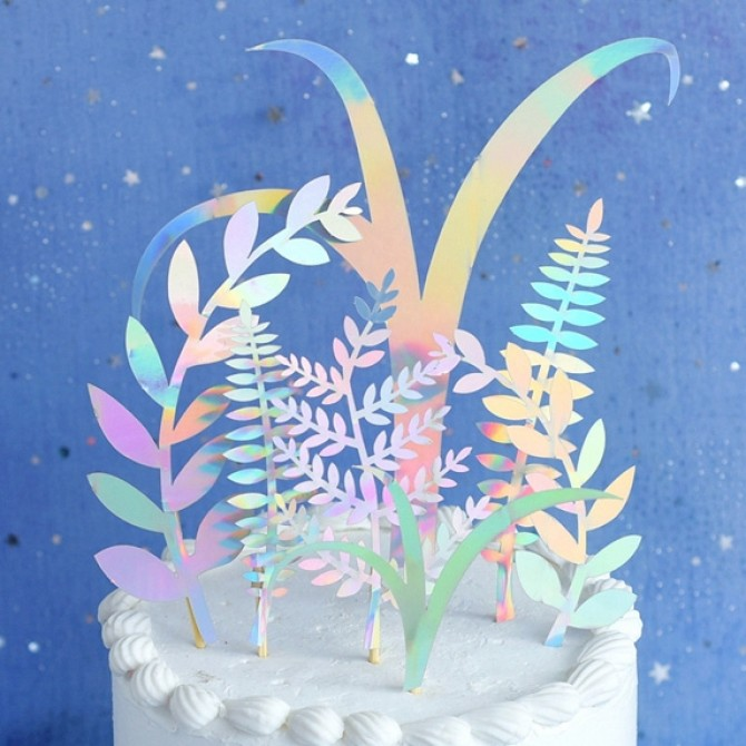 Botanical Holographic Cake Topper