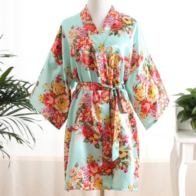 Floral Kimono Satin Robe